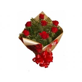 Bouquê c/ 7 rosas vermelhas