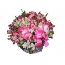 caixa c/ alstromélias e rosas colombianas