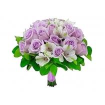 buquê de noiva c/ rosas e alstromélias