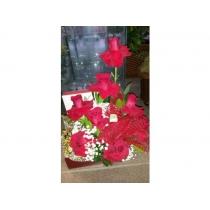 caixa com rosas colombianas vermelhas